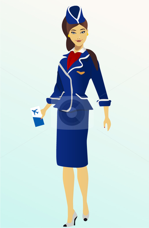 Pretty air-hostess looking at camera, smiling, portrait stock vector clipart,  by R. B.
