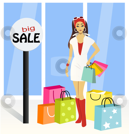 A fashionable girl with shopping bags stock vector clipart,  by R. B.