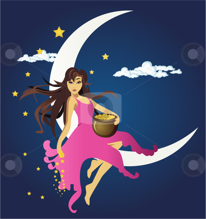 Fairy sitting on the moon and spreading stars stock vector clipart,  by R. B.