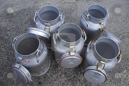 Milk cans stock photo, Five opened milk cans by Alexander L?