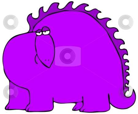 Purple Dinosaur stock photo, This illustration depicts a side view of a comical purple dinosaur. by Dennis Cox