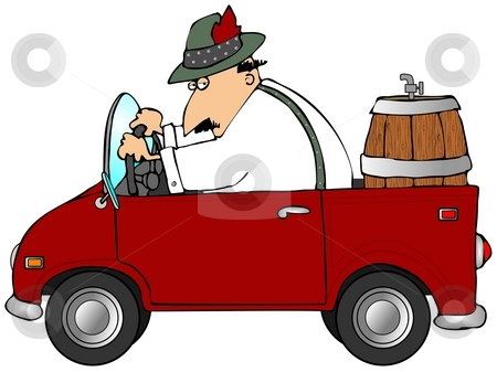Oktoberfest Beer Run stock photo, This illustration depicts a man in Bavarian attire driving a red truck with a beer keg in the back. by Dennis Cox