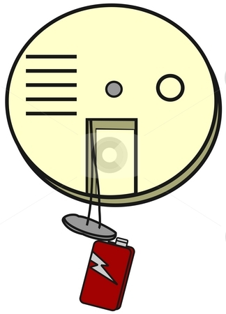 Smoke Detector stock photo, This illustration depicts a smoke detector with its battery hanging out. by Dennis Cox