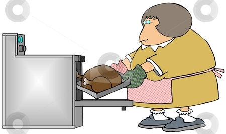 Woman Cooking A Turkey stock photo, This illustration depicts a woman putting a turkey in an oven. by Dennis Cox