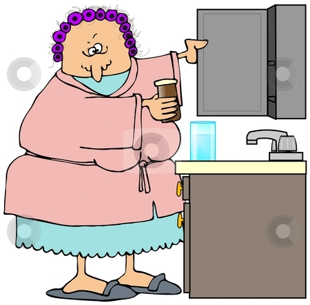 Woman Opening Her Medicine Cabinet stock photo, This illustration depicts a woman getting a prescription from her medicine cabinet. by Dennis Cox
