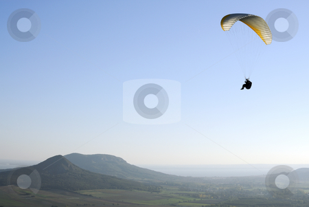 Paraglider stock photo, Paraglider flying over the Hungarian countryside by Csaba Zsarnowszky