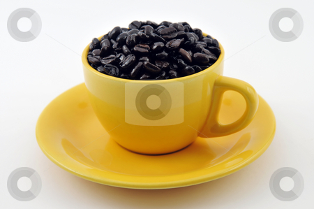 Cup with coffe beans stock photo, Yellow cup full with coffe beans isolated on white by Csaba Zsarnowszky
