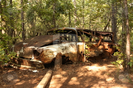 Car with tree stock photo, Old Car abandoned taken in Lumpkin, GA by George Botta