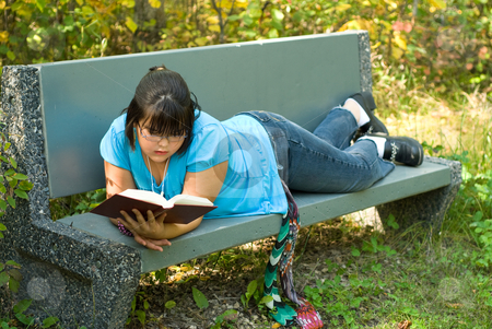 Girl Reading Outside stock photo, A nine year old girl reading a book outside on a bench by Richard Nelson