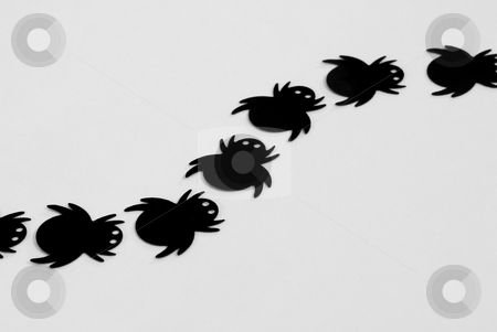 Black spiders stock photo, Creepy halloween decorations, plastic toy spiders by Stephen Gibson