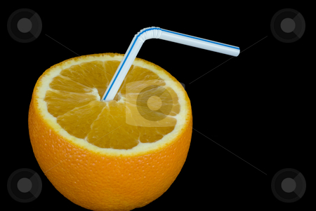 Orange juice stock photo, A ripe orange and a drinking straw by Stephen Gibson