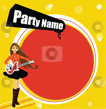 Guitar menu stock vector clipart, This image could be used as a flyer or invitation to a party by R. B.