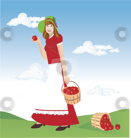 Illustration of a girl holding an apple basket stock vector clipart,  by R. B.