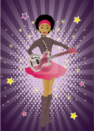 Girl with a guitar stock vector clipart,  by R. B.