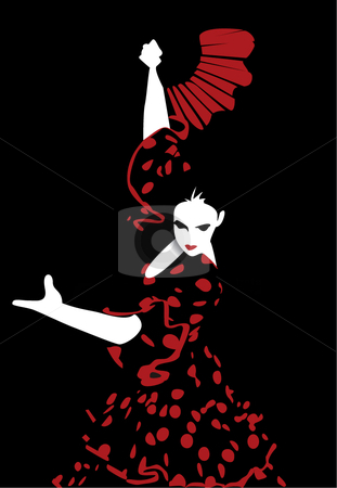 Flamenco dancing stock vector clipart,  by R. B.