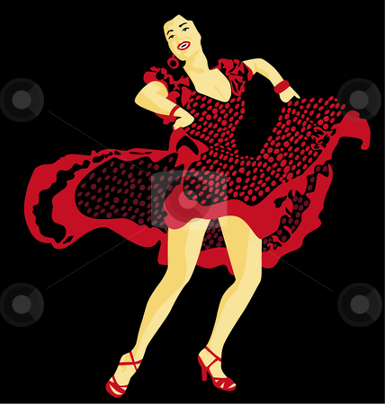 Beautiful flamenco dancer with black background stock vector clipart,  by R. B.