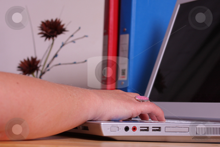 Working on a laptop in office stock photo, A lady working in an office or home office on her laptop, binders and a plant ornament on her desk. by Mark Allchin