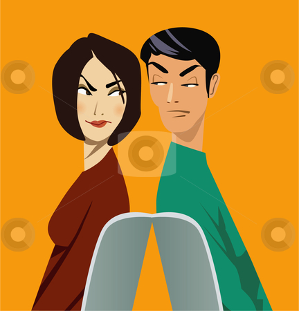 Man and woman sitting back to back suspiciously looking at each other stock vector clipart,  by R. B.