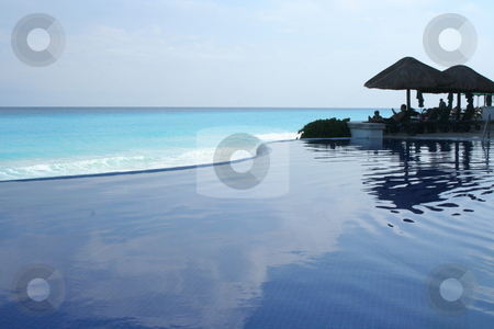 Infinity Pool, Cancun stock photo, Infinity Pool Overlooking the Gulf of Mexico by Thomas Marchessault