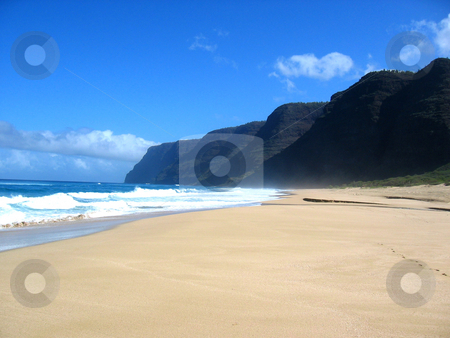 Kaui Surf and Sand stock photo, Polihale State Park, Kauai, Hawaii February 2004 by Thomas Marchessault