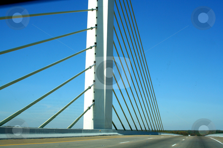 Verona - Enon Bridge stock photo, Cable and tower of the Verona - Enon Bridge crossing the James River between Chesterfield and Henrico counties in Virginia  It is a cable-stayed bridge on Interstate 295 outside of Richmond, VA opened in 1990. by Thomas Marchessault