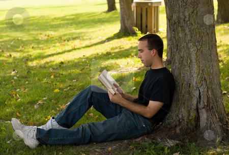 Reading A Book stock photo, A young man relaxing under a tree, reading a book by Richard Nelson