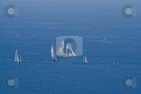Regatta stock photo, Aerial view of sailing boats during a regatta in front of Nice (French Riviera) - Name of the event :