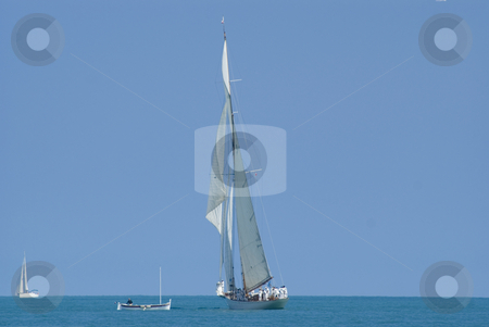 Regatta stock photo, Sailing boats during a regatta in front of Nice (French Riviera) - Name of the event :