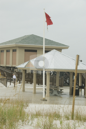 Gustav Picnic Flooding stock photo, PENSACOLA - SEP 1: High surf breaks into the picnic areas at Pensacola Beach during Hurricane Gustav on September 1, 2008. Gustav damage is estimated in excess of $20 billion. by A Cotton Photo