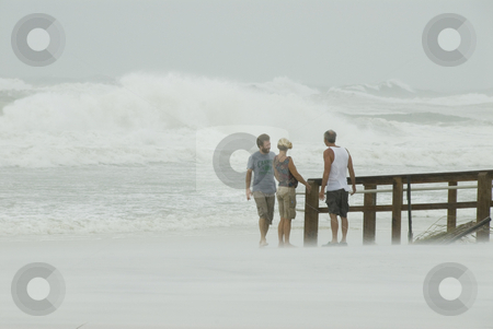 Gustav Walkway Viewers stock photo, PENSACOLA - SEP 1: People watch the surf during Hurricane Gustav on September 1, 2008. Gustav winds reached a max of 150mph. by A Cotton Photo
