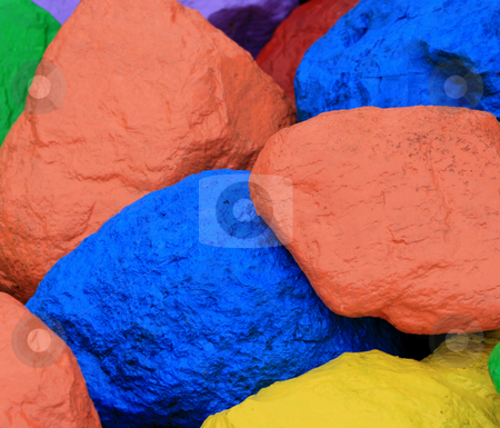 Brightly Colored Boulders stock photo, Several brightly colored painted boulders. by Betty Hansen