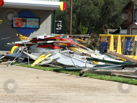 Hurricane Damaged Eatery stock photo, A tornado touched down on a local eatery after Hurricane Ike passed over by Marburg