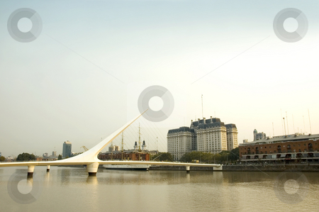 Puente de la mujer, Buenos Aires stock photo, Puente de la mujer - Women's Bridge crossing Puerto Madero in Buenos Aires, the capital of Argentina. by Lee Torrens