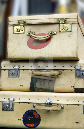 Old Suitcases stock photo, Three old suitcases stacked high by Lee Torrens