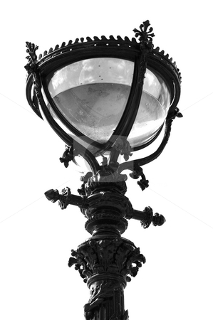Ornate Lamp stock photo, Isolated black and white  street lamp by Lee Torrens