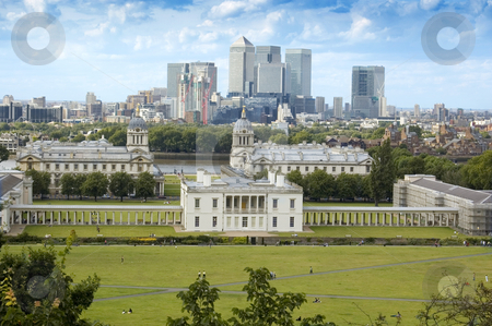 Looking over Greenwich stock photo, London's national maritime museum with Canary Wharf in the background by Lee Torrens