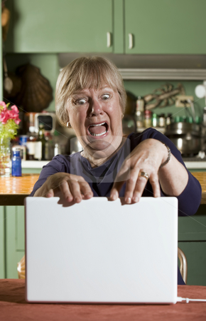 Shocked Senior Woman with a Laptop Computer stock photo, Shocked Senior Woman in Dining Room with a Laptop Computer by Scott Griessel