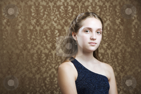 Confident Young Girl stock photo, Confident Young Girl in a Party Dress by Scott Griessel