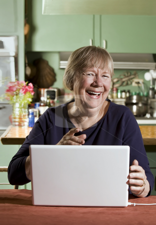 Senior Woman with a Laptop Computer stock photo, Senior in Dining Room with a Laptop Computer by Scott Griessel