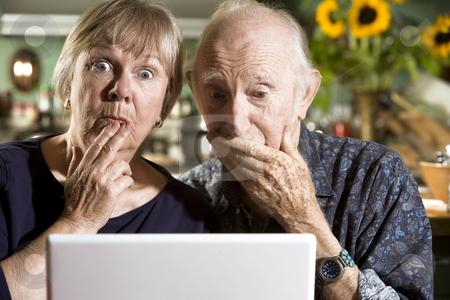 Perplexed Senior Couple with a Laptop Computer stock photo, Perplexed Senior Couple in their Dining Room with a Laptop Computer by Scott Griessel