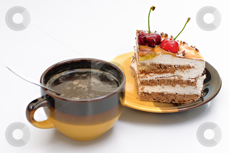Coffee and cake stock photo, Coffee and cake on white background by Vadim Maier