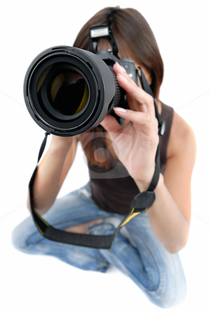 Photographer girl stock photo, Photo shoting .... girl with photo by camera on white background by Vadim Maier