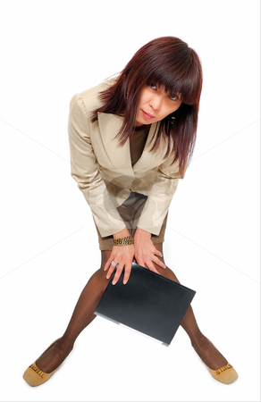 Girl with file stock photo, Office woman with file on white background by Vadim Maier