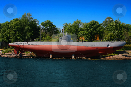 Submarine on-shore stock photo, A Finnish submarine turned into a museum attraction by Arve Bettum