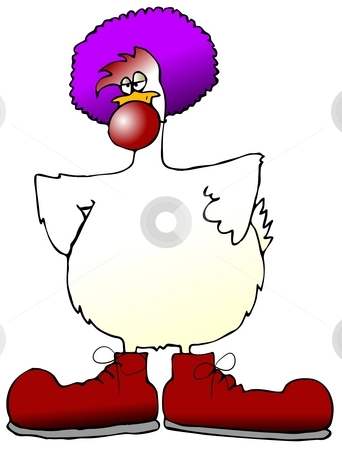 Chicken Clown stock photo, This illustration depicts a chicken wearing a clown nose, shoes and wig. by Dennis Cox