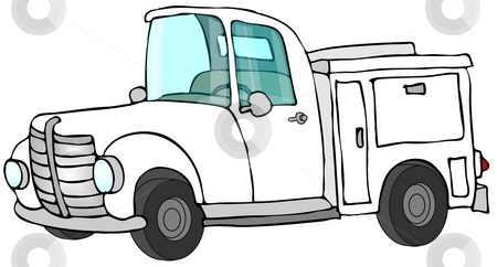 White Work Truck stock photo, This illustration depicts a white work truck with bins. by Dennis Cox
