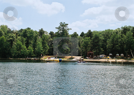 Fun Water Activity on Cutfoot Sioux Lake, Minnesota stock photo, Boating, swimming, rafting and beach games take place in one small area at this Minnesota resort. by Bruce Peterson