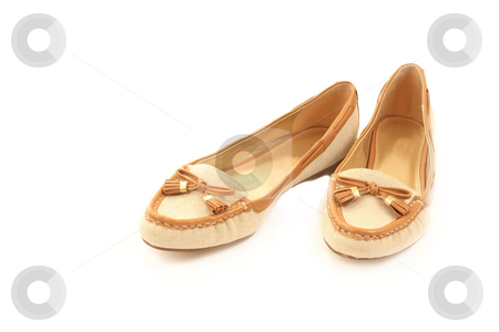 Shoes stock photo, Pair of ladies shoes isolated on white by Jack Schiffer