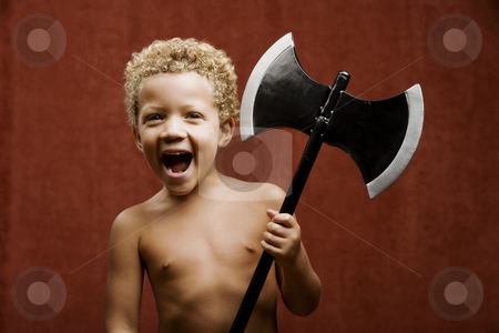 Young Boy with a Toy Hatchet stock photo, Young shirtless boy with a toy hatchet by Scott Griessel