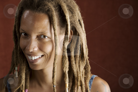 African American Woman stock photo, Pretty African American Woman with Hair in Dreadlocks by Scott Griessel